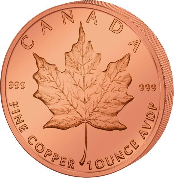 1 Unze Kupfer Gedenkprägung Maple Leaf