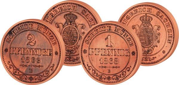 1 und 2 Pfennige Sachsen König Johann 1872-1873 Sehr schön
