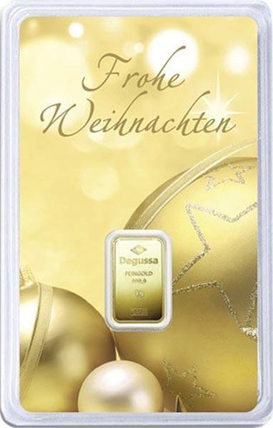 1 Gramm Goldbarren Frohe Weihnachten