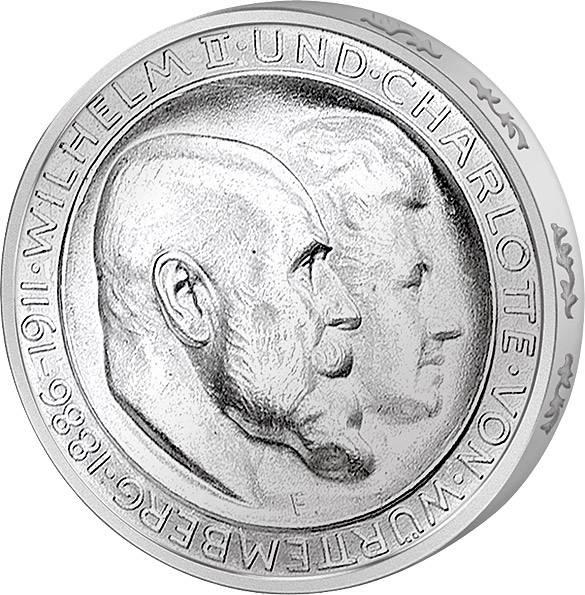 3 Mark Würtemberg Silberhochzeit 1911 ss-vz