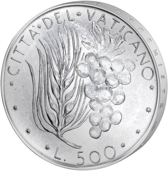 500 Lire Vatikan Papst Paul VI. Ähren und Trauben