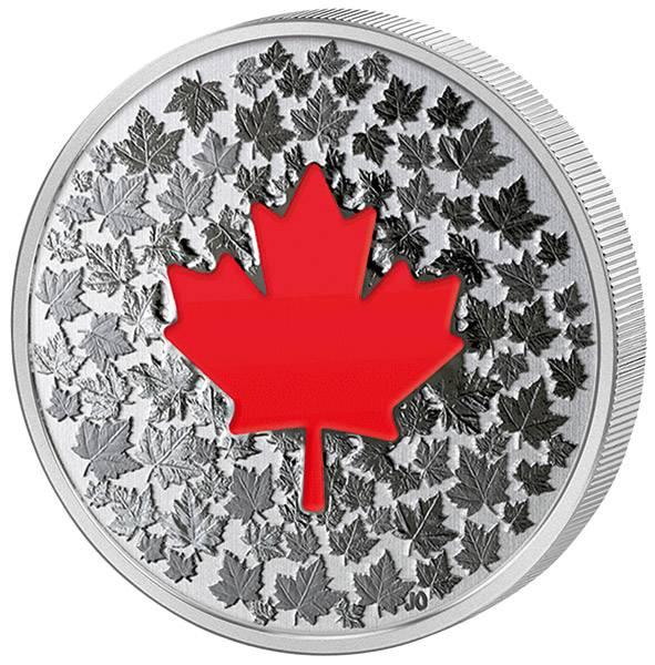5 Dollars Kanada Maple Leaf Leuchtendes Ahornblatt 2018