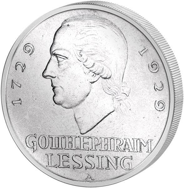 3 Mark Weimarer Republik Gotthold Ephraim Lessing 1929 Vorzüglich