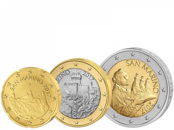 20 Cent + 1 Euro + 2 Euro San Marino Kursmünzen 2017