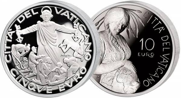 5 Euro Vatikan Welttag der Migranten und Flüchtlinge + 10 Euro Vatikan 50. Welttag der Erde 2020