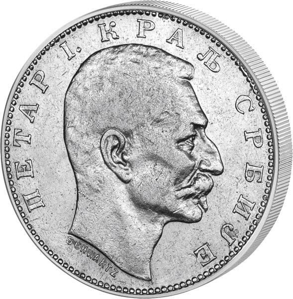1 Dinar Serbien König Peter I. 1904-1915