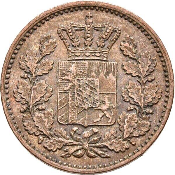 1 Pfennig Bayern König Maximilian II. 1858-1864