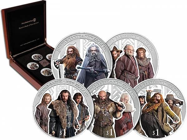 5 x 1 Dollar Neuseeland Der Hobbit - Die Verwüstung von Smaug 2013