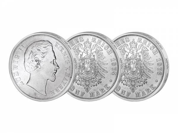 3 x 5 Mark Bayern König Ludwig II. 1874-1876