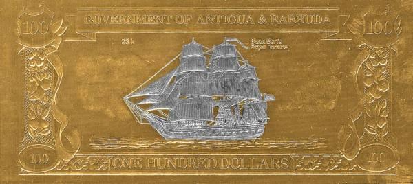 100 Dollars Antigua und Barbuda Goldbanknote Schiffe 1988