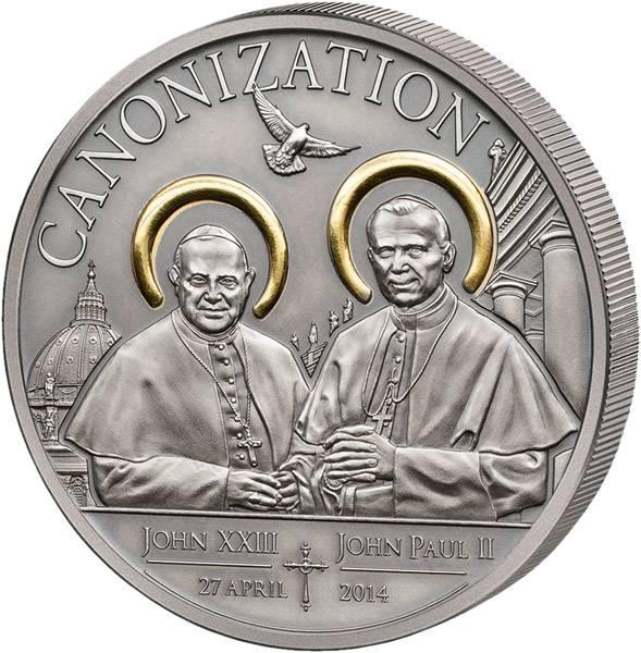 1.000 Shillings Tansania Heiligsprechung Johannes Paul II.u. Johannes XXIII. 2014   Antik-Finish
