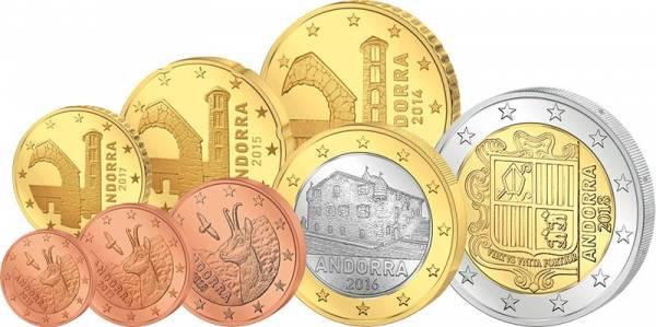 1 Cent - 2 Euro Kursmünzensatz Andorra 2014-2019