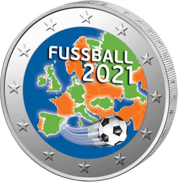 2 Euro Europa Fussball EM 2021 mit Farbapplikation