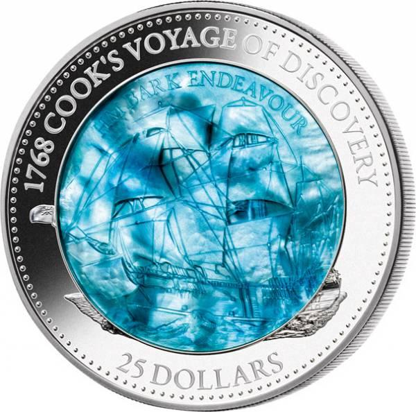 25 Dollars Salomonen Mother of Pearl James Cook Endeavour 2018 - FOTOMUSTER