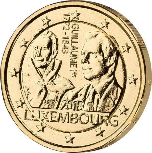 2 Euro Luxemburg 175. Todestag Großherzog Guillaume I. 2018 vollvergoldet