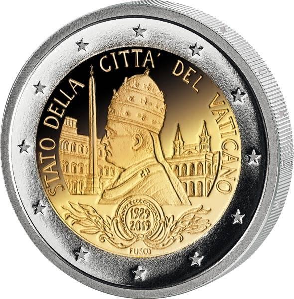 2 Euro Vatikan 90. Jahrestag der Gründung des Staates Vatikanstadt 2019
