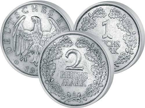 1 u. 2 Reichsmark Weimarer Republik Eichenlaub 1925-1931 Sehr schön