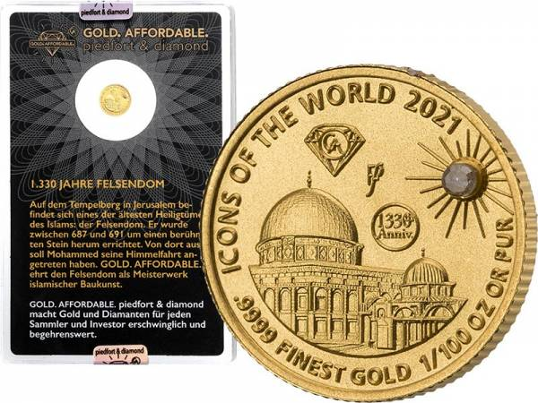 10 Francs Ruanda Gold Affordable Diamond Edition Felsendom 2021