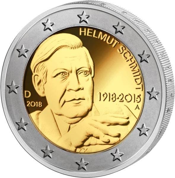 2 Euro BRD 100. Geburtstag Helmut Schmidt 2018