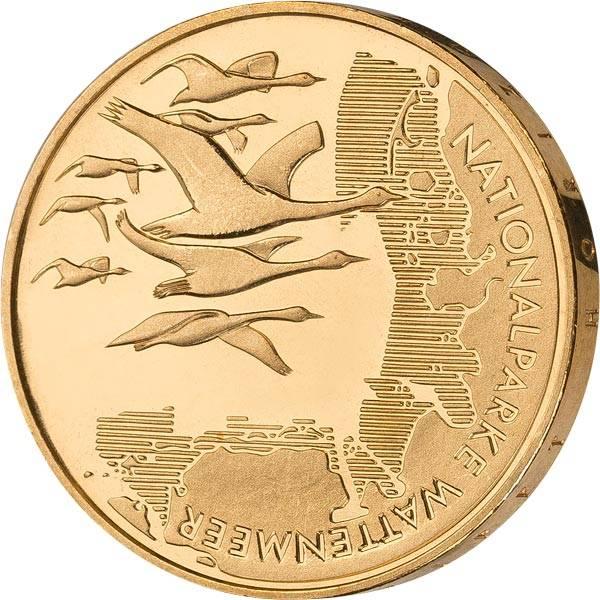 10 Euro BRD Nationalpark Wattenmeer 2004 vollvergoldet