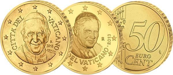 2 x 50 Cent Vatikan Papst Benedikt XVI. 2013 und Franziskus JuW