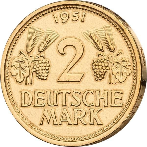 2 DM BRD Ähren und Trauben 1951 vollvergoldet