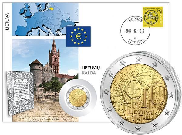 2 Euro Numisbrief Litauen Litauische Sprache 2015