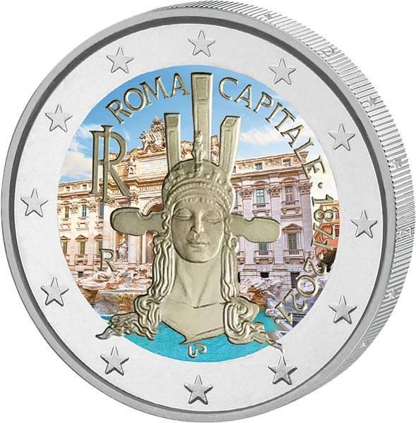2 Euro Italien 150 Jahre Hauptstadt Rom 2021 mit Farb-Applikation