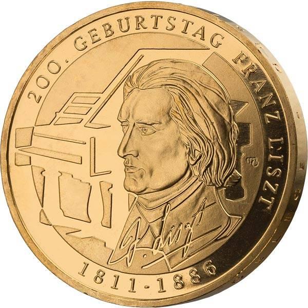 10 Euro BRD 200. Geburstag von Franz Liszt 2011 vollvergoldet