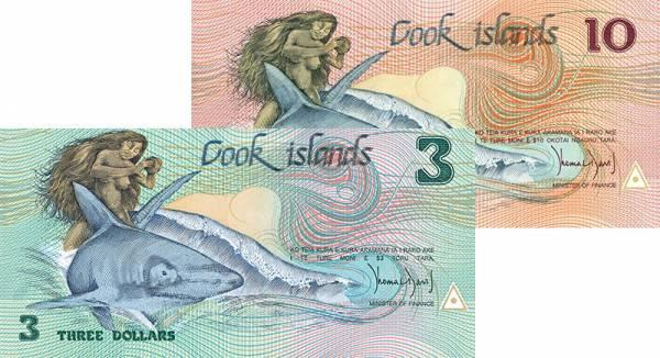 2er Set Banknoten Cook-Inseln 1987