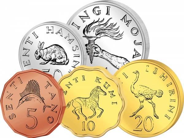 5 Centi - 1 Schilling Kursmünzen Tansania 1966 - 1992
