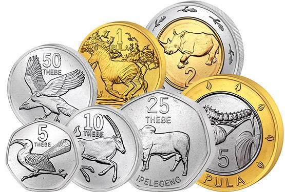 5 Thebe - 5 Pula Kursmünzen Botswana 2013