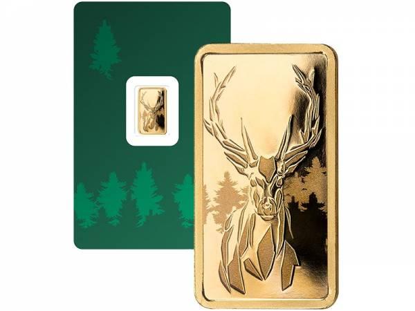 1 Gramm Goldbarren Hirsch inkl. Geschenkverpackung