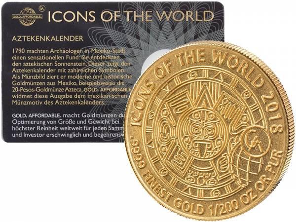 1/200 Unze Gold Ruanda Aztekenkalender 2018