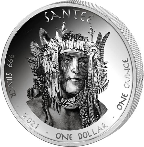 1 Dollar USA Native State Dollar South Carolina Santee Delfin 2021