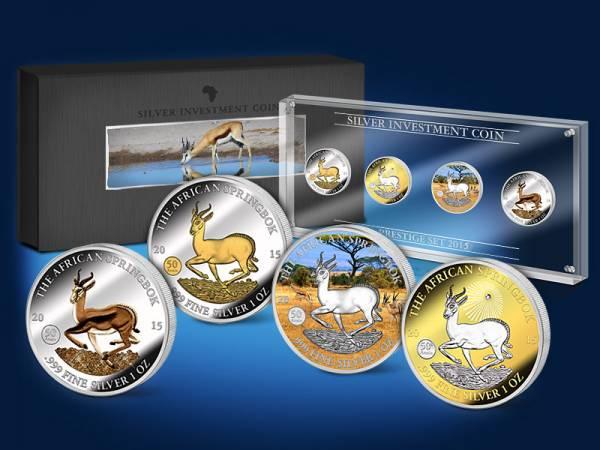 Silver Investment Coin Prestige-Set Springbock 2015 Stempelglanz