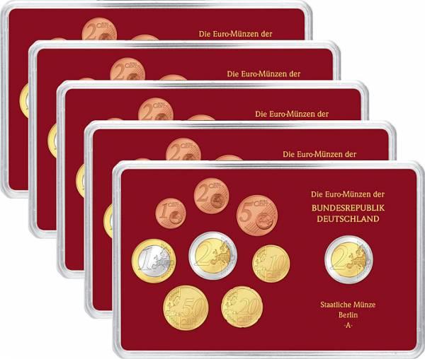 1 Cent-2 Euro u. 2 Euro (9 Werte) Kursmünzensatz BRD 2013 A-J Polierte Platte