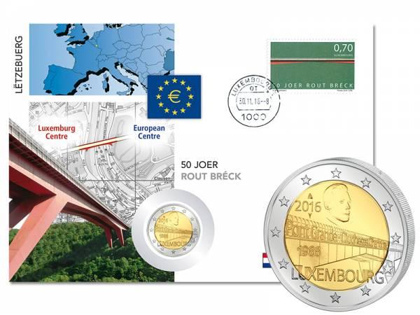 2 Euro Numisbrief Luxemburg Großherzogin-Charlotte-Brücke