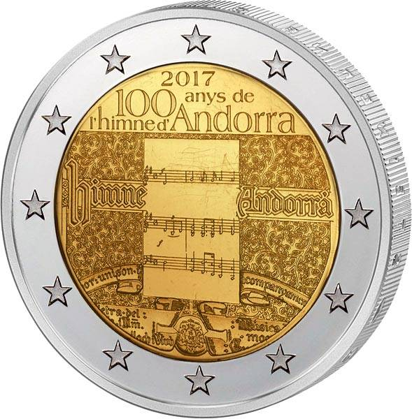 2 Euro Andorra 100 Jahre Hymne Andorras 2017