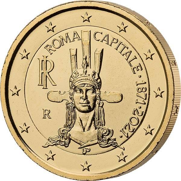 2 Euro Italien 150 Jahre Hauptstadt Rom 2021 vollvergoldet