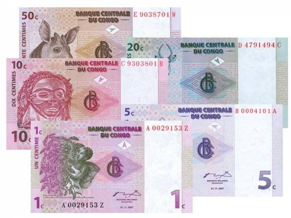 1-50 Centimes Kongo Erste Ausgabeserie nach Einführung des zweiten Kongo-Francs 1997