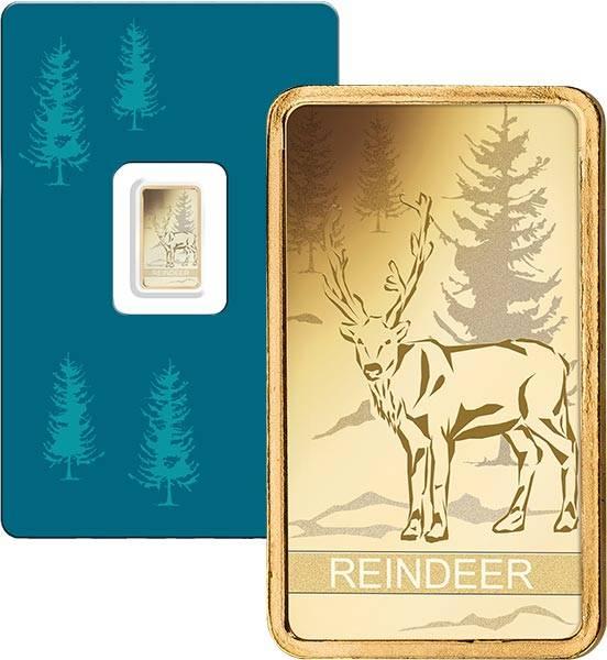 1 Gramm Goldbarren Schweiz Rentier