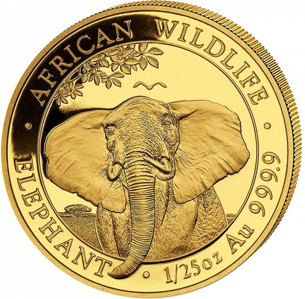 1/25 Unze Gold Somalia Elefant 2021
