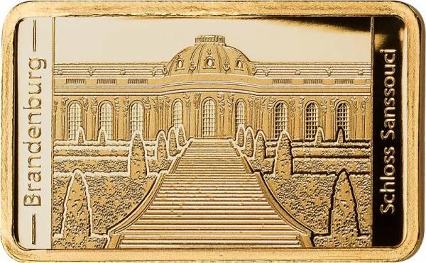 0,5 Gramm Goldbarren Brandenburg Schloss Sanssouci