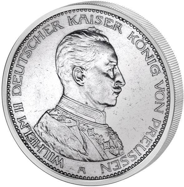 5 Mark Preußen Kaiser Wilhelm II. in Kürassieruniform 1913-1914