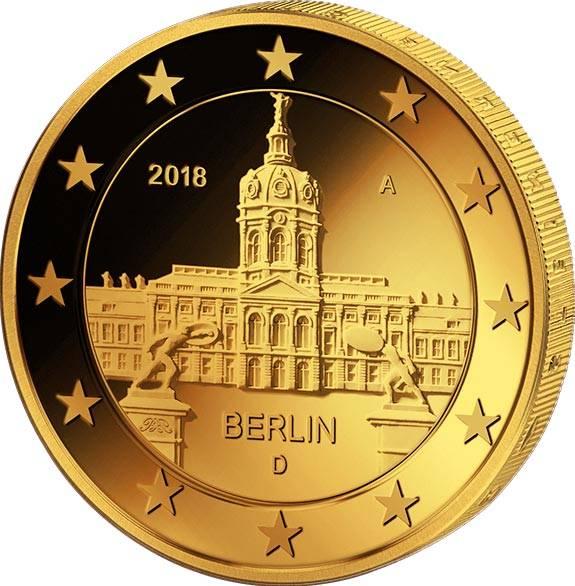 2 Euro BRD Berlin Schloss Charlottenburg 2018 vollvergoldet