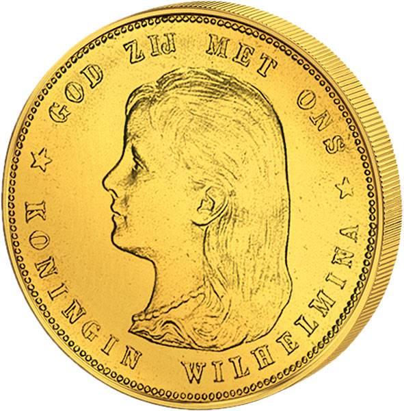 10 Gulden Königin Wilhelmina mit langem Haar 1892-97 vz-st