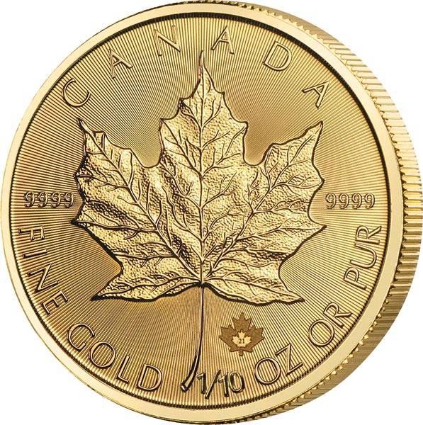1/10 Unze Gold Kanada Maple Leaf 2021