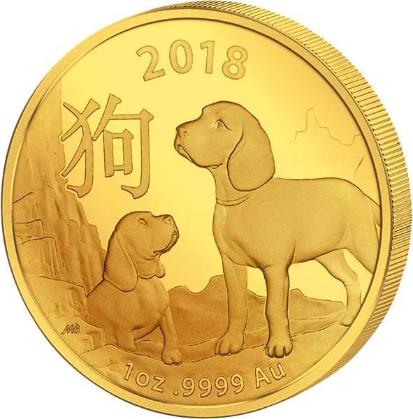 1 Unze Gold Australien Jahr des Hundes 2018