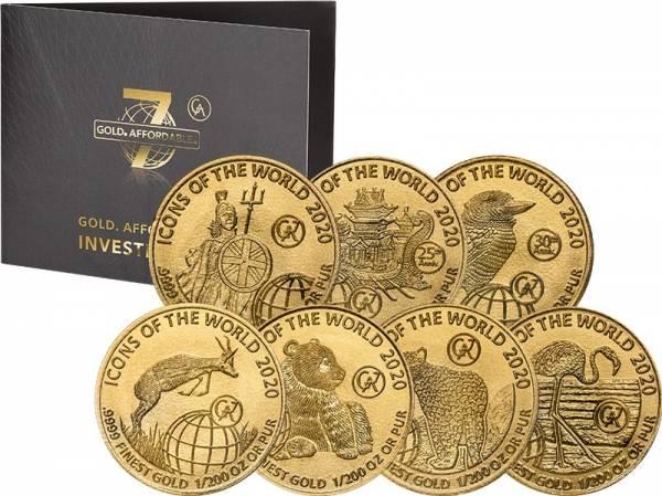 7 x 10 Francs Gold Ruanda Icons of the World 2020